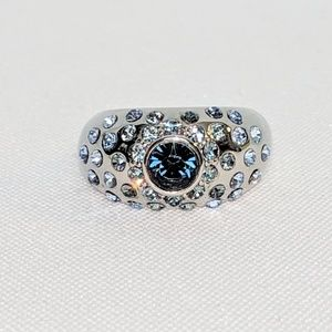 Jewelry - Blue Rhinestone Silver Statement Ring
